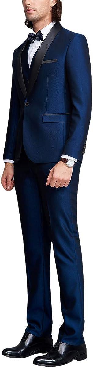 YOUTHUP Abito da Uomo per La Cena Abito A Tre Pezzi Blazer Gilet e Pantaloni Slim Fit