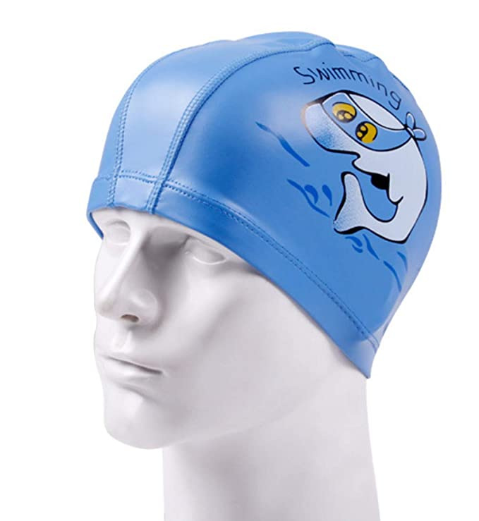 FOURCHEN Niños Nadando anteojos Junior Childrens 3-15 años de Edad, con Anti-Niebla, Tapones para los oídos y Gorro de natación para niños (Blue Dolphin ...