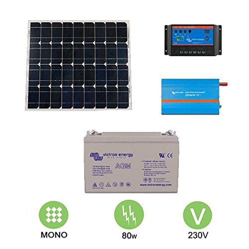 Kit solar autonome 80W–230V Monokristallines