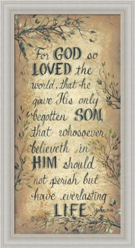 For God So Loved The World by Gail Eads John 3:16 Sign Framed Art Print Wall Decor