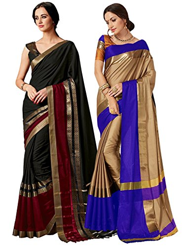 (ELINA FASHION Pack of Two Sarees for Indian Women Cotton Art Silk Printed Weaving Border Saree || Sari Combo (Multi 12))