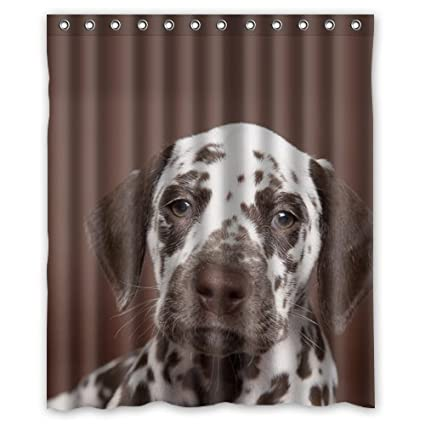 Uiowsbe Hot Unique Brown Dalmatians Dog Puppy Artistic Shower Curtain Special Water Proof Antifungal