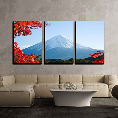 wall26 - 3 Piece Canvas Wall Art - Mt.Fuji in Autumn - Modern Home Decor Stretched and Framed Ready to Hang - 16