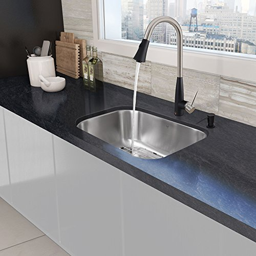 VIGO 23 inch Undermount Single Bowl 18 Gauge Stainless Steel Kitchen Sink with Milburn Stainless Steel/Matte Black Faucet, Grid and Strainer 60%OFF