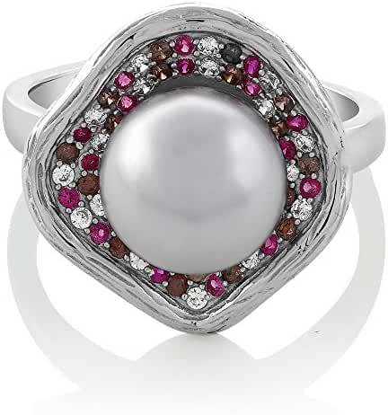 10mm Cultured Freshwater Pearl and Multicolor Gemstone 925 Silver Flower Ring