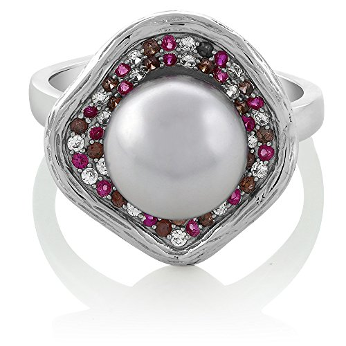 - 10mm Cultured Freshwater Pearl and Multicolor Gemstone 925 Sterling Silver Flower Ring