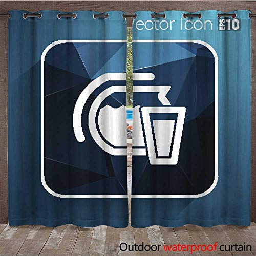 Outdoor Curtain for Patio Glass Pitcher Logo Vector icon Compote Juice W72 x L84