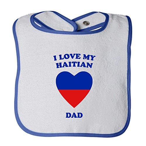 (I Love My Haitian Dad Cute Rascals Tot Contrast Trim Terry Bib White/Royal Blue)