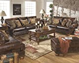 Ashley Furniture Signature Design - Chaling Sofa with 5 Accent Pillows - Traditional and Weatherworn Style - Brown