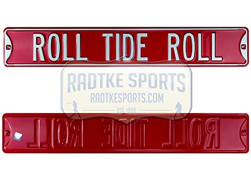 (Alabama Crimson Tide Roll Tide Roll Officially Licensed Authentic Steel 36x6 Crimson & White NCAA Street Sign)