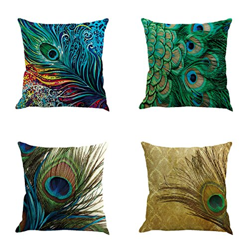 Colorful Peacock (Qinqingo Colorful Peacock Feather Throw Pillow Case Cushion Cover Home Sofa Decor Pillowcases (Set of 4))