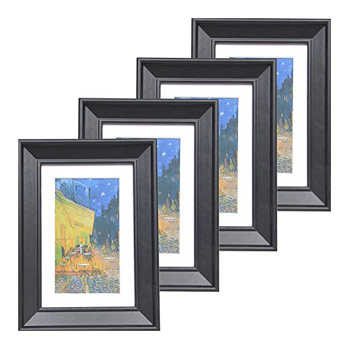 Muzilife 4x6 Wood Picture Frame - Beveled Profile - Set of 4 - for Picture 3x5 with Mat or 4x6 Without Mat (Black)