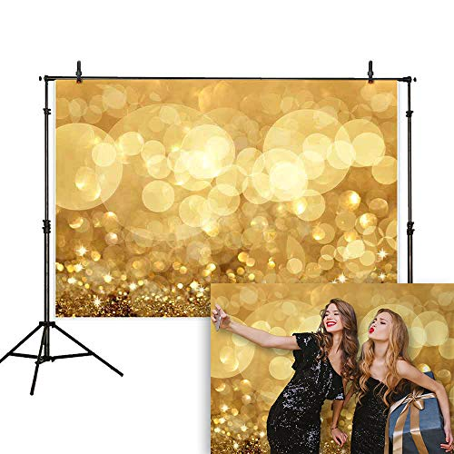 Allenjoy 7X5ft Bokeh Golden Glitter Sparkle Photography Backdrop Twinkly Lights and Stars Christmas Background Photo Studio Booth Props Selfie Live Video Shoot Graduation Prom Party Decoration -