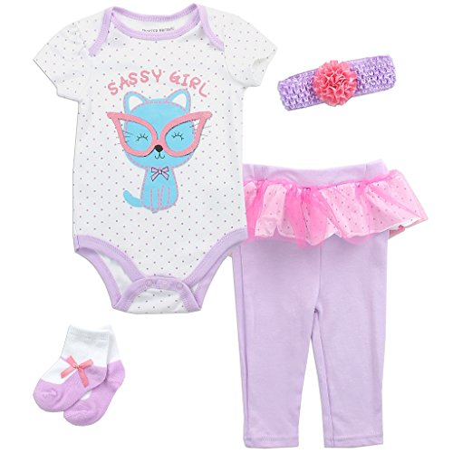 Buster Brown Baby Girls' Sassy Kitty 4 Piece Creeper, Pants, Headband and Socks Set (3/6M)