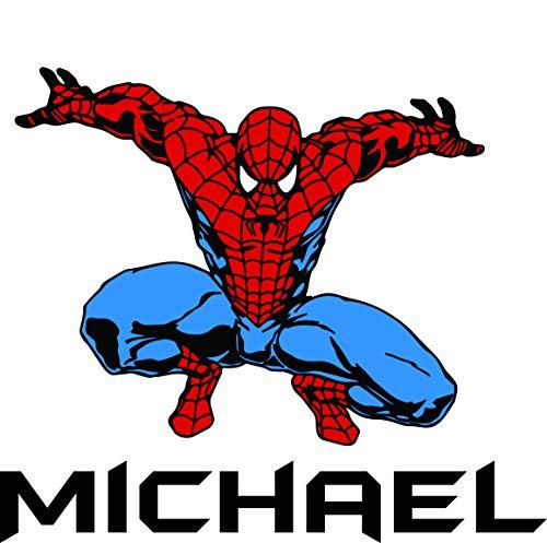 Custom Names Personalized Name Spider Man Super Hero Marvel Disney Wall Decals for Kids Bedroom/Children Boys Boy Wall Decor Vinyl Sticker Designs/Cartoon Characters TV Shows Comics Size 20x10