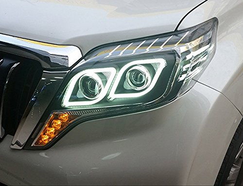 GOWE Car Styling Head Lamp for Toyota Prado 2015 Headlight LED Headlight ANGEL EYE LOW BEAM DRL Bi-Xenon Lens HID Whole set Color Temperature:4300k;Wattage:35w 1