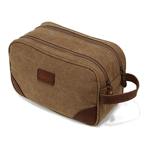 Mens Bathroom Travel Bag Toiletry Shaving Bags for Men Vintage Canvas Double Zipper Toiletries Dob Dopp Kits Womens Cosmetic Makeup Bag, Light Khaki, Large, Unisex Fathers Day Gifts (Bag Day Canvas)