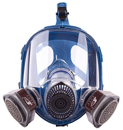 Induschoice Broad View Organic Vapor Full Face Respirator Mask Gas Mask Paint Pesticide Chemical Formaldehyde Anti Virus Respiratory Protection(Respirator +1 Pair Cartridges) by Induschoice (Image #5)