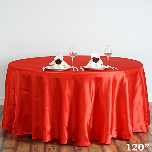 Efavormart 120″ RED Wholesale Linens Satin Round Tablecloth for Kitchen Dining Catering Wedding Birthday Party Events