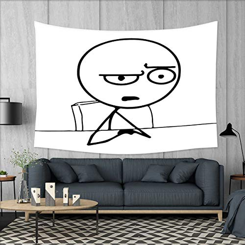 smallbeefly Humor Wall Tapestry So What Guy Meme Face Best Avatar WTF Icon Hipster Mascot Snobby Sign Picture Home Decorations for Living Room Bedroom 80