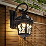 Outdoor Wall Lantern Wall Sconces, Waterproof Light Fixture Industrial Glass Shade Lantern Cast Aluminum, Black Wall Mounted for Luminaire Balcony Patio Porch
