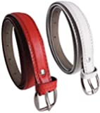Krystle Women's PU Leather Belts (KRY-WOM-RED-WHT-BELT, Red and White, Free Size, Pack of 2)