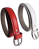 Krystle Women's Combo Set Of 2 PU leather belts Red & White)