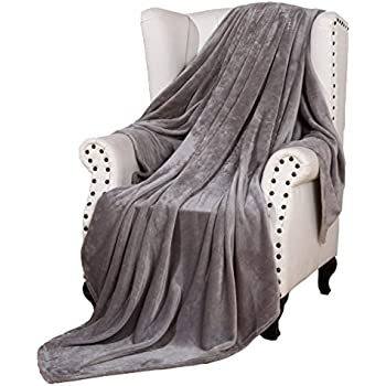 flannel bed blanket luxury grey queen size 90x90 inches lightweight plush microfiber. Black Bedroom Furniture Sets. Home Design Ideas