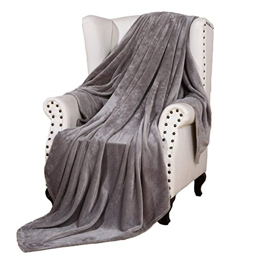 Flannel Bed Blanket Luxury Grey Queen Size 90x90 Inches Lightweight Plush Microfiber Fleece All Season Super Soft Cozy Blanket for Bed Couch and Birthday Gift Blankets