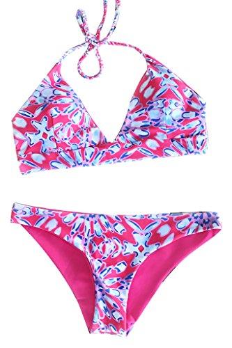 Seaselfie Women's Floral Two Piece Cute Halter Padding Bikini Sets, Pink, Small