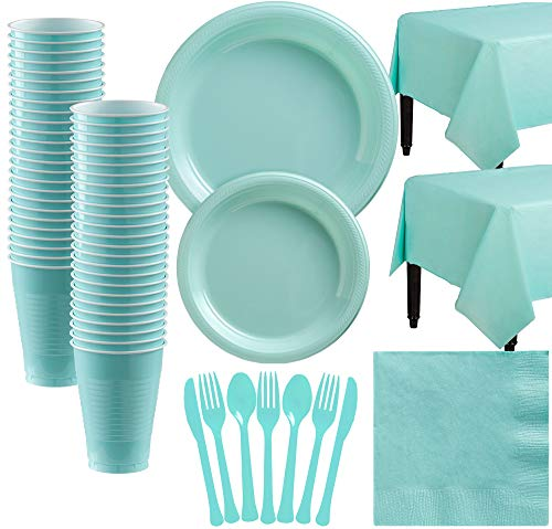 Amscan Robin's Egg Blue Plastic Tableware Kit for 50 Guests, Party Supplies, Includes Table Covers, Plates and -