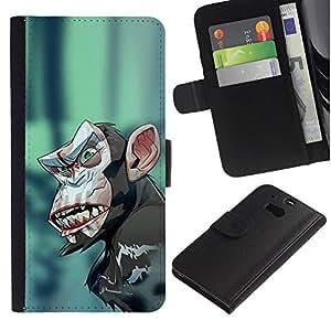 // PHONE CASE GIFT // Moda Estuche Funda de Cuero Billetera Tarjeta de crédito dinero bolsa Cubierta de proteccion Caso HTC One M8 / Evil Crazy Monkey Chimp /