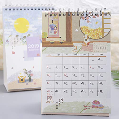 Hacloser 2019 Desk Calendars Japanese Style Standing Coil Paper Calendar Memo Daily Schedule Table Planner Yearly Agenda Organizer, Random Style