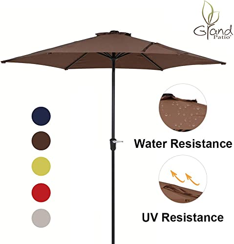 Grand Patio 9 FT Aluminum Patio Umbrella, UV Protected Outdoor Umbrella with Easy Crank, Coffee