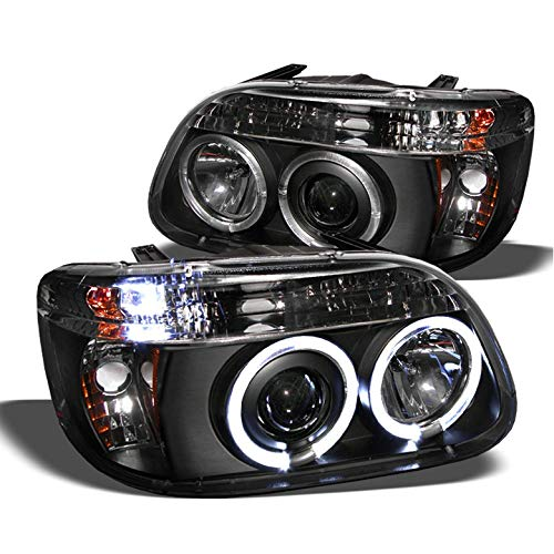 Xtune 1995-2001 Ford Explorer Twin Halo LED Projector Headlights Black Head Lights Pair Left+Right 1996 1997 1998 1999 2000