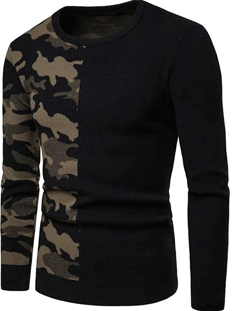 Cromoncent Mens Cargo Printed Contrast Color Casual Crewneck Knitted Pullover Jumper Sweaters