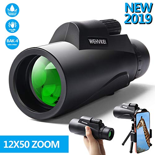 HD Monocular Telescope 12X50 High Power Zoom Scope for iPhone BAK4 Prism FMC Waterproof Anti-Fog Compact Single Binoculars for Hiking, Bird Watching, Hunting, and More Outdoor Activities