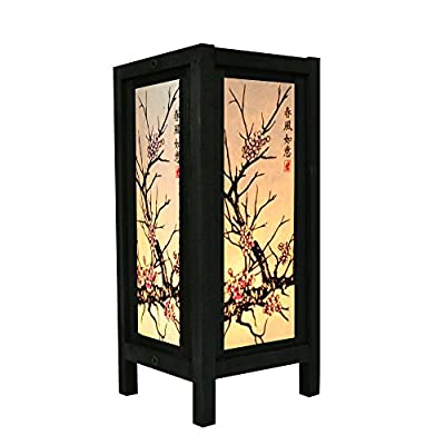 "Cherry Blossom White Black Pink Painting 11"" Wood Bedside or Table Lamp Japanese Oriental Collectible Handmade Asian Vintage Lighting for Home Décor"