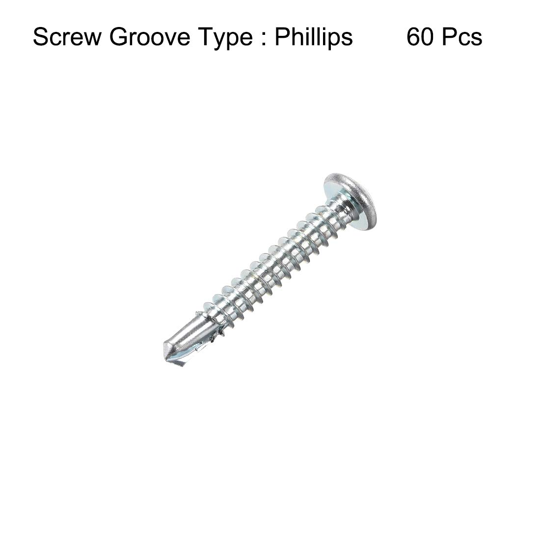 uxcell #10 x 1-1//4 Self Tapping Screws Zinc Plated Carbon Steel Phillips Pan Head Self Drilling Screws 60pcs