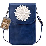 Bosam NEW Cute Flower Cross-body Purse Mobile Pouch Soft Cell Phone PU Leather Case [View Window Touch Screen]...
