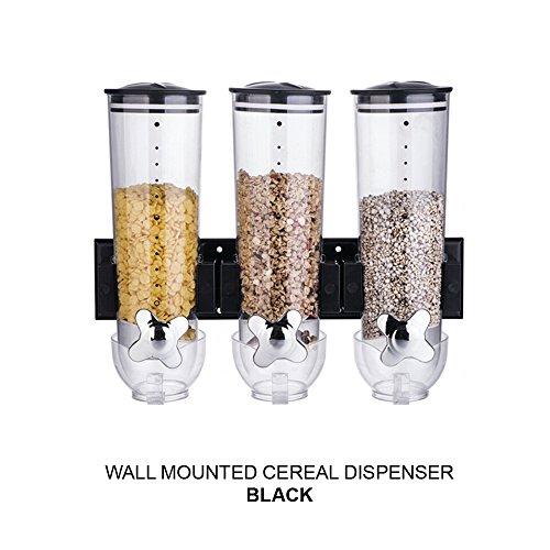 Doble/Triple montado en la pared dispensador de cereales contenedor de almacenamiento de alimentos secos, Triple Black x 1: Amazon.es: Hogar