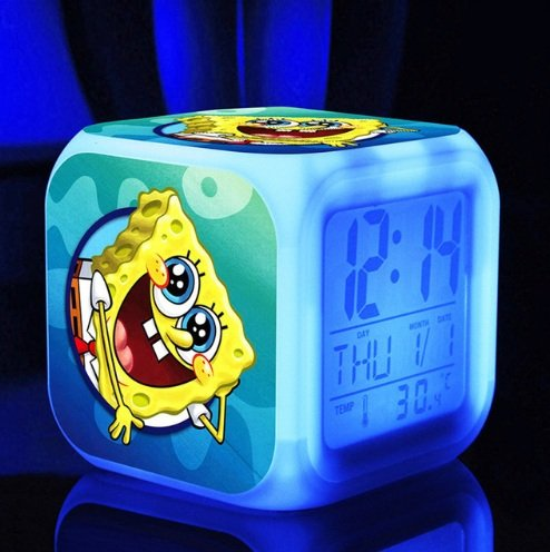 Spongebob SquarePant Patrick Star Digital Alarm Desktop Clock with 7 Changing LED Clock Colorful Toys for Kids (Style 1)