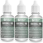 Essential Values 3-Pack Foosball Rod Lubricant - Authentic Foosball Silicone for Foosball Table Rods - 100% Si