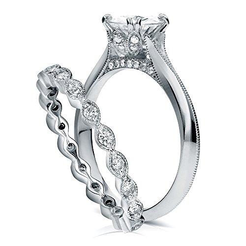 Vintage Moissanite Bridal Set with Diamond 1 2/5 CTW 14k White Gold