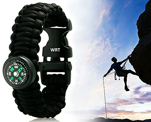 WRT Outdoor Survival Paracord Bracelet with Compass, Flint/Steel, and Whistle for Backpacking, Hiking, Climbing, Hunting, the Outdoors, and More! (Black, Large (11inch))