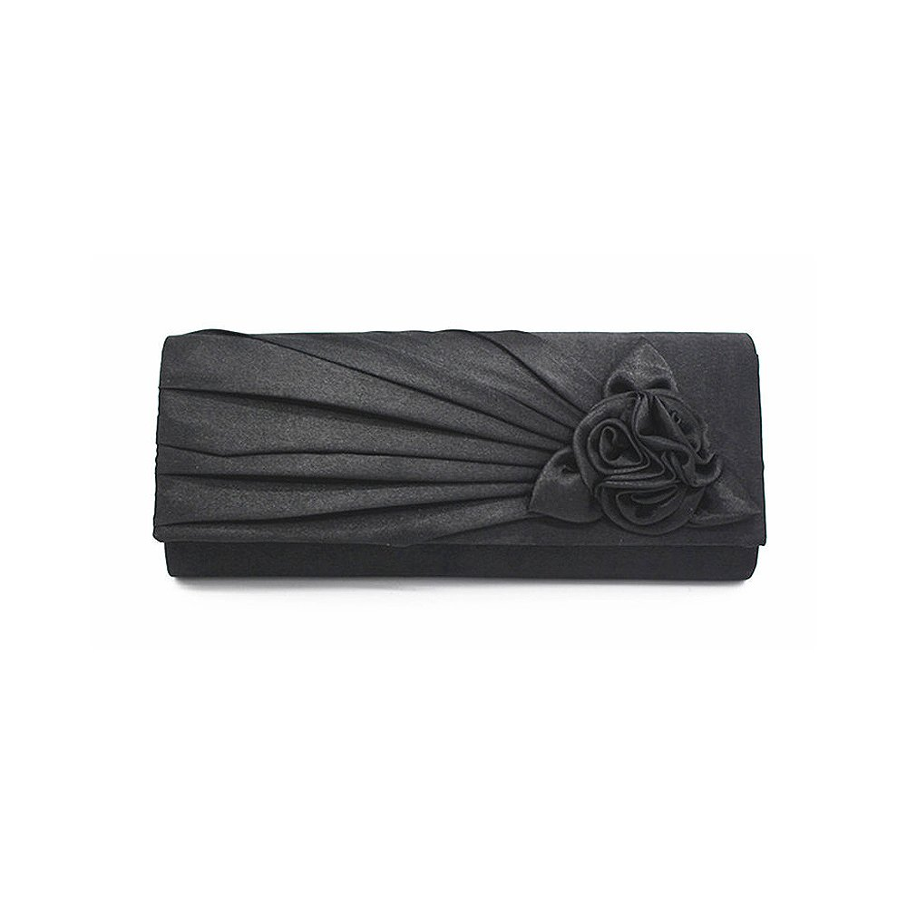Women Pleated Satin Wedding Evening Bridal Bag Clutch Purse With Flower Black