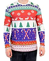 Festive Candy Canes Pattern Long Sleeve Ugly Christmas T-Shirt