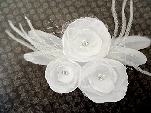 Oh Lucy Handmade LILLY White Satin Flower and Peacock Feather Fascinator, (Wedding Lilly Flowers Favor)