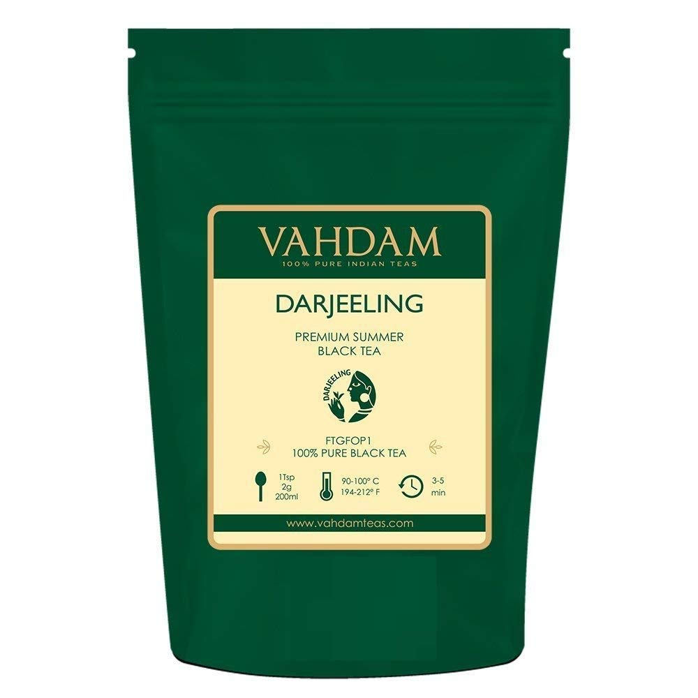 VAHDAM, Darjeeling  Tea Leaves  from Himalayas (120+ Cups), 100% Certified Pure Unblended Darjeeling Black Tea, FTGFOP1 Grade Loose Leaf Tea, Packed & Shipped Direct from Source in India, 9-Ounce Bag by VAHDAM