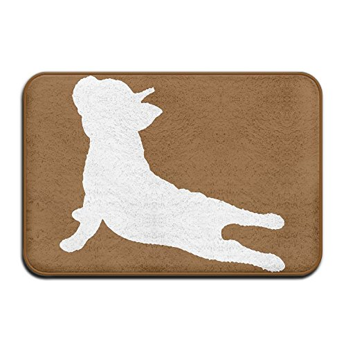 - Indoor/Outdoor Doormat With French Bulldog Yoga Graphic Pattern For Pet Cat Dog Feeding Mat